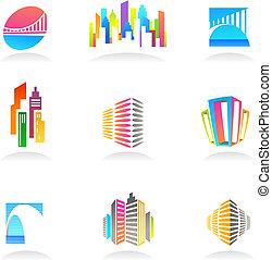 bens imóveis, e, construção, ícones, /, logotipos, -, 2