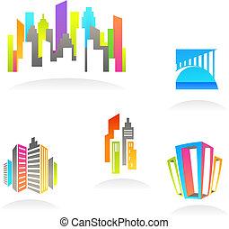 bens imóveis, e, construção, ícones, /, logotipos, -, 3