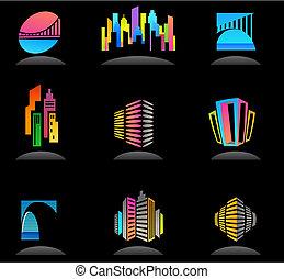 bens imóveis, e, construção, ícones, /, logotipos, -, 5