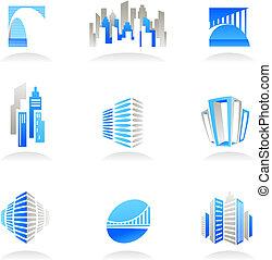 bens imóveis, e, construção, ícones, /, logotipos