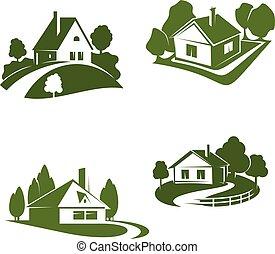 bens imóveis, eco, casa, desenho, verde, ícone