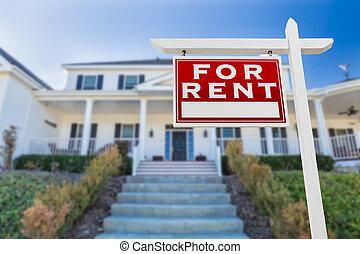bens imóveis, house., sinal, enfrentando, aluguel, frente, esquerda