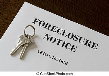 bens imóveis, lar, foreclosure, legal, aviso, e, teclas