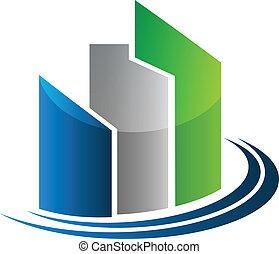 bens imóveis, modernos, edifícios, cartão, desenho, logotipo, vetorial, ícone
