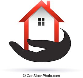 bens imóveis, obtendo, casa, mão, ícone
