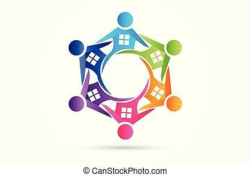 bens imóveis, pessoas, casas, trabalho equipe, logotipo