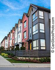 bens imóveis, townhouses, condominiums., novo, ou, fila