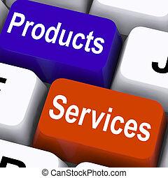 bens, mostrar, teclas, companhia, produtos, serviços,...