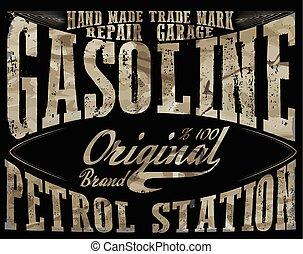 bensin, autentisk, Årgång,  gas,  Illustration,  pump, vektor, Etiketter, undertecknar, bensin,  station, tryck,  retro