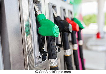 bensin, drivmedel, station, pumpar