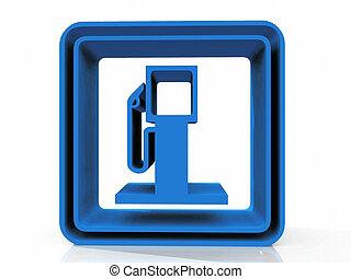 bensin förlagt, symbol, vita, bakgrund