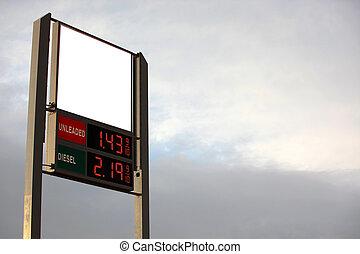 bensin förlagt, underteckna, tomt utrymme