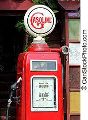 bensin, röd, retro, pump
