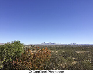 Valley and mountains in city of Benson, Cochise county, Southern Arizona