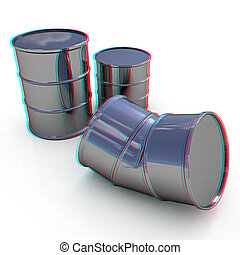 bent barrel. 3D illustration. Anaglyph. View with red/cyan glasses to see in 3D.