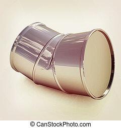 bent barrel. 3D illustration. Vintage style.