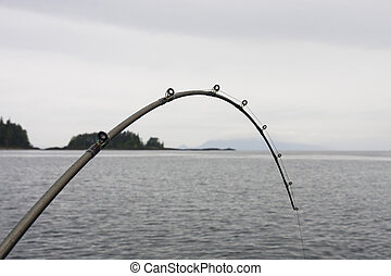 A fishing pole bent with a fish on the line