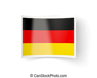Bent icon with flag of germany isolated on white