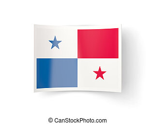Bent icon with flag of panama isolated on white