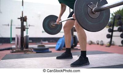 bent-over, penchant, rang, fitness, barre disques, homme, formation, aka, /, haltérophilie, sur