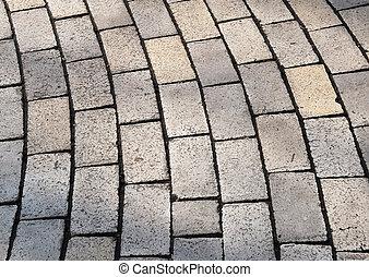 Bent rows of grey cobble pavement - Bent cobble pavement ...