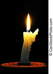 Bent white candle. - White candle with wax running down side...