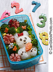 Bento box with school lunch for kids