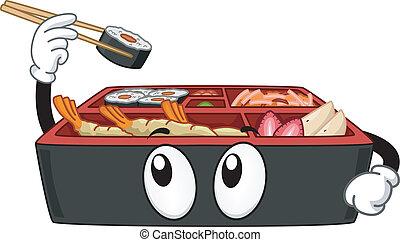 Mascot Illustration Featuring a Bento Box Picking a Maki