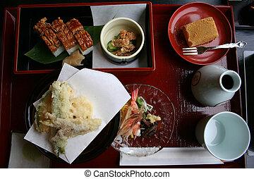 Bento Set - a tempura, hamo sushi and dessert bento set