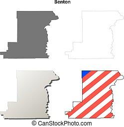 benton, comté, orégon, ensemble, carte, contour