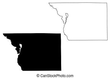 Benton County,  Minnesota (U.S. county, United States of America, USA, U.S., US) map vector illustration, scribble sketch Benton map