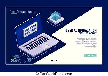 benutzer, zeichen, auf, oder, zeichen, in, seite, rückkopplung, laptop, mit, ermächtigung, form, auf, schirm, webseite, schablone, banner, vektor