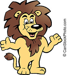 benvenuti, lei, orgoglioso, leone, re, là