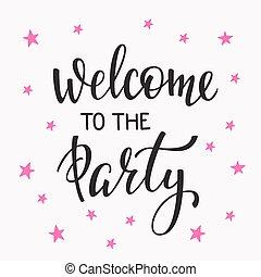 benvenuto, a, il, festa, iscrizione, citazione, tipografia