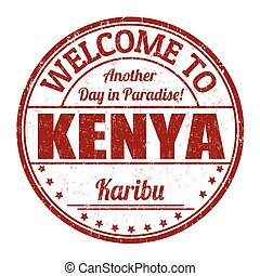 benvenuto, a, kenia, segno, o, francobollo