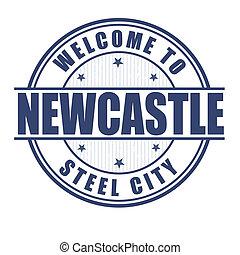 benvenuto, a, newcastle, francobollo