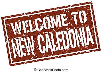 benvenuto, a, nuova caledonia, francobollo