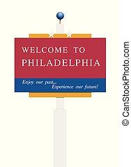 benvenuto, filadelfia, segno strada