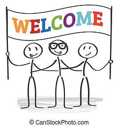 benvenuto, -, illustrazione, segno