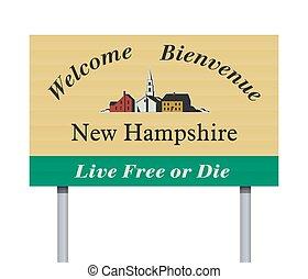 benvenuto, nuovo, segno strada, hampshire