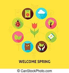 benvenuto, primavera, concetto