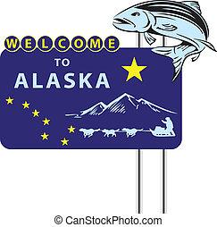 benvenuto, stare in piedi, alaska