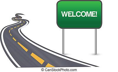 benvenuto, strada asfaltata, segno