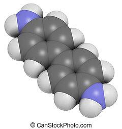 Benzidine (4,4'-diaminobiphenyl) chemical. Highly carcinogenic