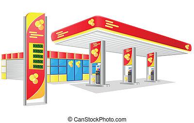 benzin, autó, állomás, vektor