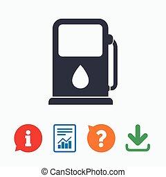 benzin, autó, cégtábla., benzinkút, fűtőanyag, icon., vagy