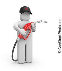 benzin, osoba, pumpa
