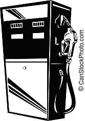 benzin, retro, benzin, schwarz, weißes, station, weinlese, pumpe, erdöl, gas, kraftstoff