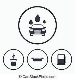 benzina, automobile, gas, icons., stazione, wash., servizi, o
