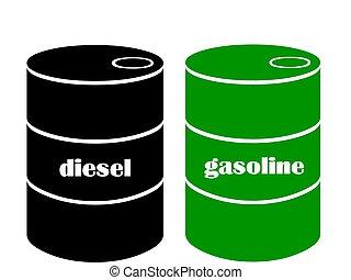 benzina, barile, diesel, o
